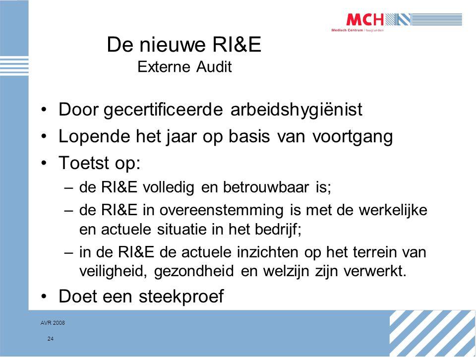 AVR 2008 24 De nieuwe RI&E Externe Audit Door gecertificeerde arbeidshygiënist Lopende het jaar op basis van voortgang Toetst op: –de RI&E volledig en