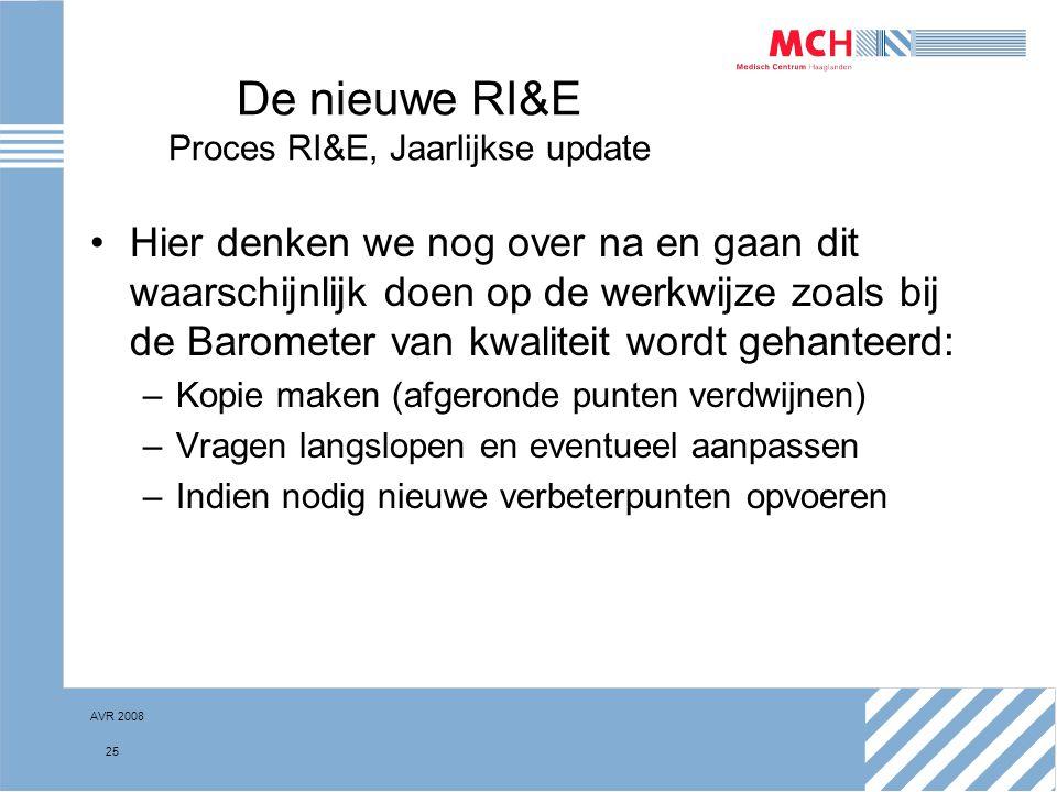 AVR 2008 25 De nieuwe RI&E Proces RI&E, Jaarlijkse update Hier denken we nog over na en gaan dit waarschijnlijk doen op de werkwijze zoals bij de Baro