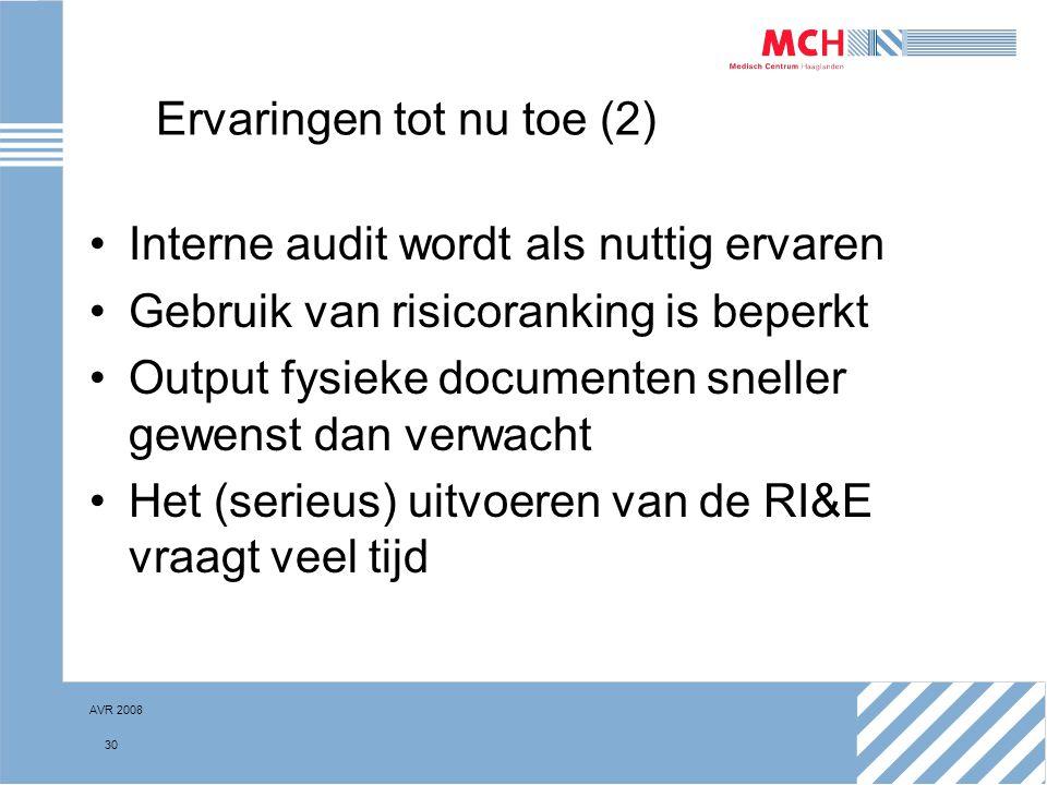 AVR 2008 30 Ervaringen tot nu toe (2) Interne audit wordt als nuttig ervaren Gebruik van risicoranking is beperkt Output fysieke documenten sneller ge