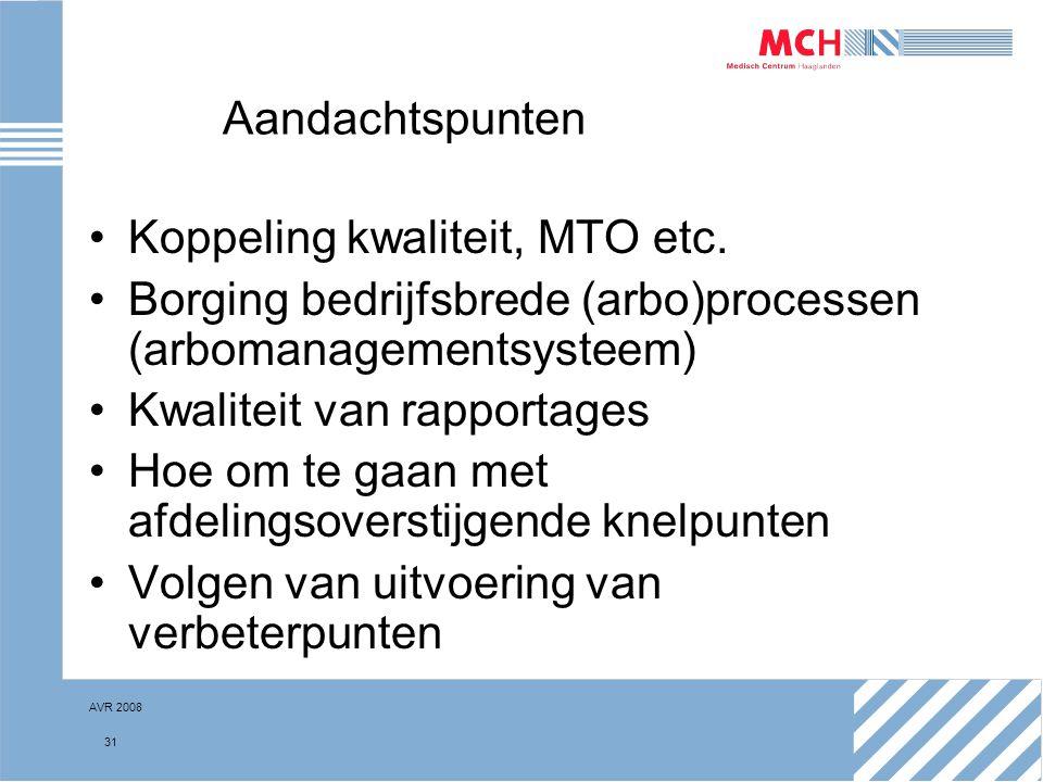 AVR 2008 31 Aandachtspunten Koppeling kwaliteit, MTO etc. Borging bedrijfsbrede (arbo)processen (arbomanagementsysteem) Kwaliteit van rapportages Hoe