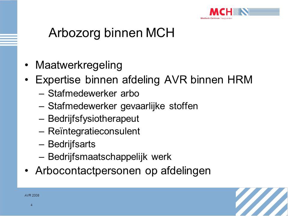 AVR 2008 5 Arbocontactpersonen (ACP) Taken van de ACP-er –Inventariseren arbeidsomstandigheden (RI&E) –Adviseren en ondersteunen leidinggevende en medewerkers bij AVR (PvA) –Informeren nieuwe medewerkers over AVR –Brengt AVR in werkoverleg –Aanspreekpunt onderwerpen AVR, zoals gevaarlijke stoffen –Beheer documentatie (RI&E, BOEG) –Ergocoach
