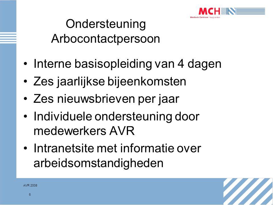 AVR 2008 6 Ondersteuning Arbocontactpersoon Interne basisopleiding van 4 dagen Zes jaarlijkse bijeenkomsten Zes nieuwsbrieven per jaar Individuele ond