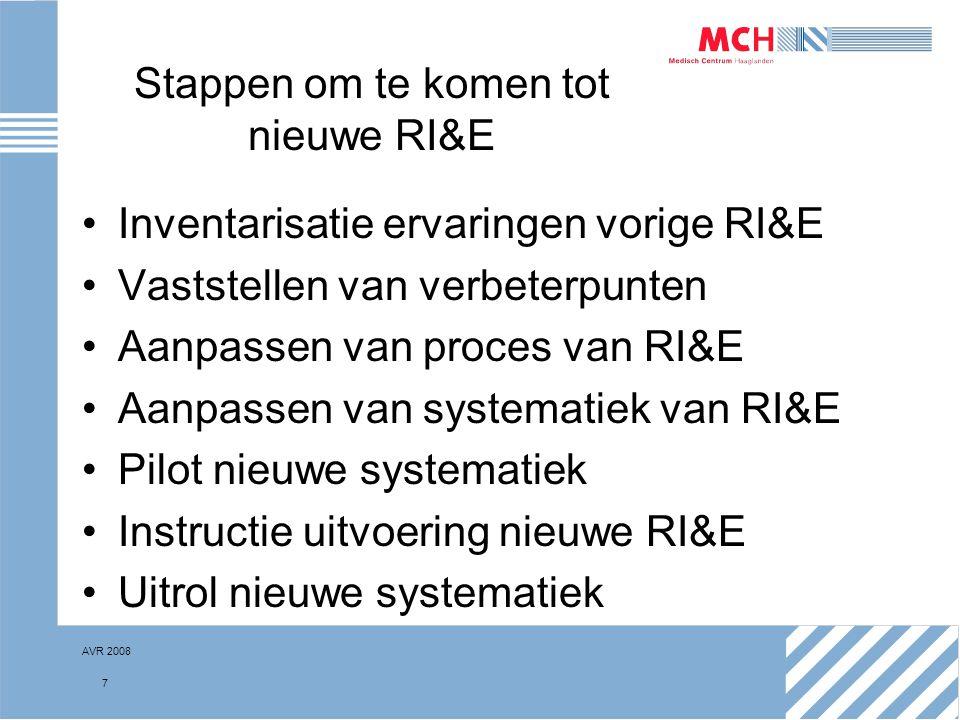 AVR 2008 18 De nieuwe RI&E Proces RI&E, wegen van risico's Gebruik van standaardmethodiek De ernst van een risico (R) is afhankelijk van: –de waarschijnlijkheid dat werknemers aan het gevaar worden blootgesteld (W); –de frequentie waarmee deze blootstelling optreedt (B); –het effect dat de blootstelling heeft voor de betrokken werknemers (E).