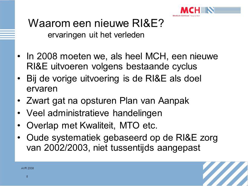 AVR 2008 8 Waarom een nieuwe RI&E? ervaringen uit het verleden In 2008 moeten we, als heel MCH, een nieuwe RI&E uitvoeren volgens bestaande cyclus Bij