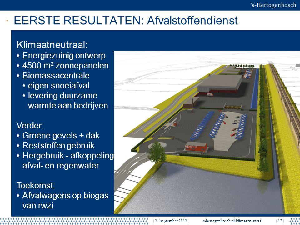 | 21 september 2012 |s-hertogenbosch.nl/klimaatneutraal| 17 | EERSTE RESULTATEN: Afvalstoffendienst Klimaatneutraal: Energiezuinig ontwerp 4500 m 2 zo