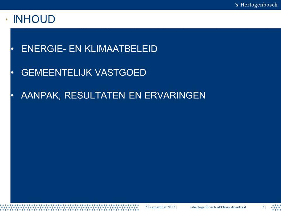 INHOUD | 21 september 2012 |s-hertogenbosch.nl/klimaatneutraal| 2 | ENERGIE- EN KLIMAATBELEID GEMEENTELIJK VASTGOED AANPAK, RESULTATEN EN ERVARINGEN