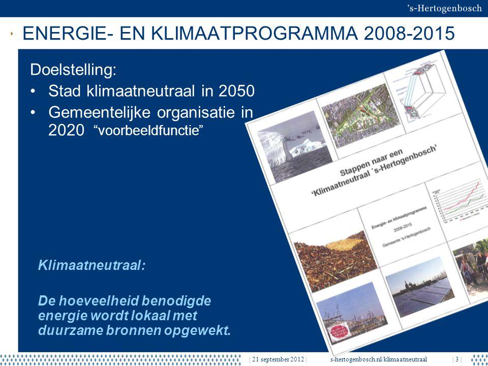 EERSTE RESULTATEN   21 september 2012  s-hertogenbosch.nl/klimaatneutraal  14   Resultaat 12 scholen: 6 scholen label A, 6 scholen label B, alle een frisse school Totale kosten: € 2.400.000 Maatregelen: Isolatie daken Isolatie glas Energiezuinige CV-ketels Energiezuinige verlichting Ventilatiesysteem met WTW Energiebesparing : Electra 5% Gas 30%