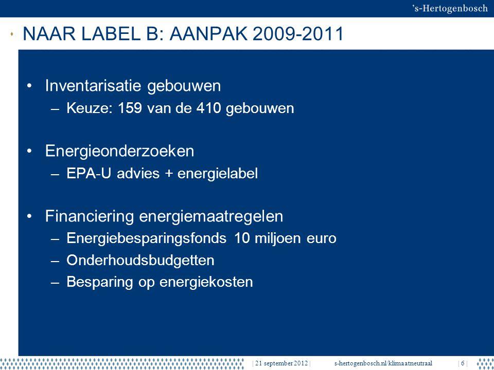   21 september 2012  s-hertogenbosch.nl/klimaatneutraal  7   RESULTATEN tot HEDEN Nieuwbouw: 30% besparing EPC (14 gebouwen) –Klimaatneutrale Afvalstoffendienst –BBS Nieuw Zuid – Passief Bouwen concept Bestaande bouw: 159 panden: EPA-U/energielabel –43: energielabel A of B –31: sloop/verkoop –85: energielabel C-G 15 verbeterd 2010-2011: label A/B 3 in verbouwing –67: te verbeteren