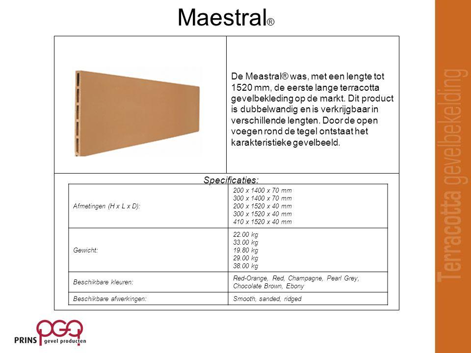 Specificaties: De Meastral® was, met een lengte tot 1520 mm, de eerste lange terracotta gevelbekleding op de markt.