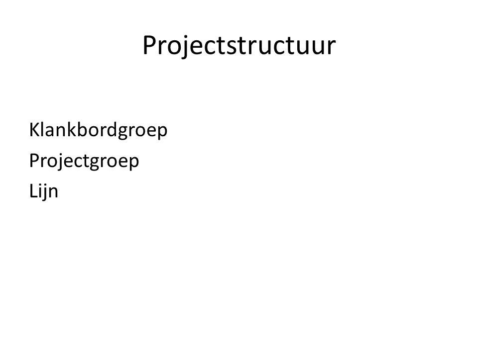 Projectstructuur Klankbordgroep Projectgroep Lijn