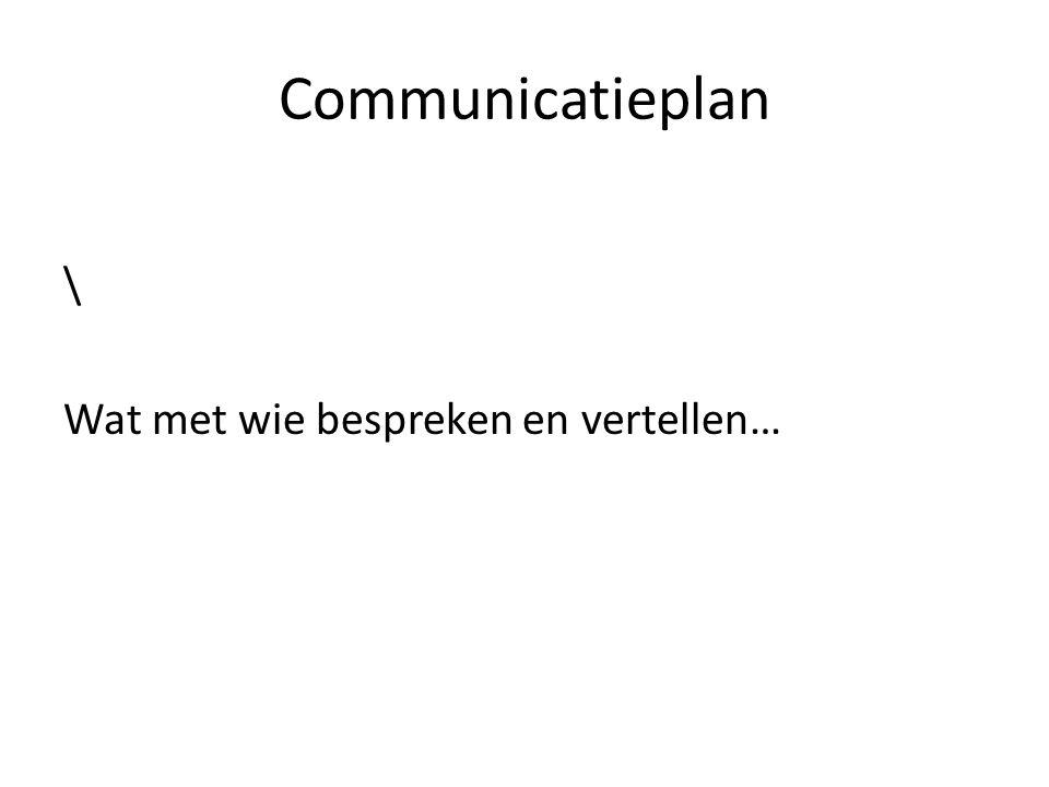 Communicatieplan \ Wat met wie bespreken en vertellen…
