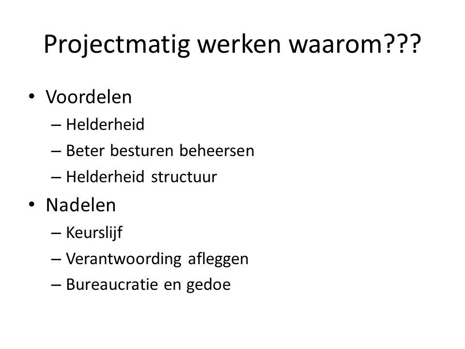 Projectmatig werken waarom??? Voordelen – Helderheid – Beter besturen beheersen – Helderheid structuur Nadelen – Keurslijf – Verantwoording afleggen –