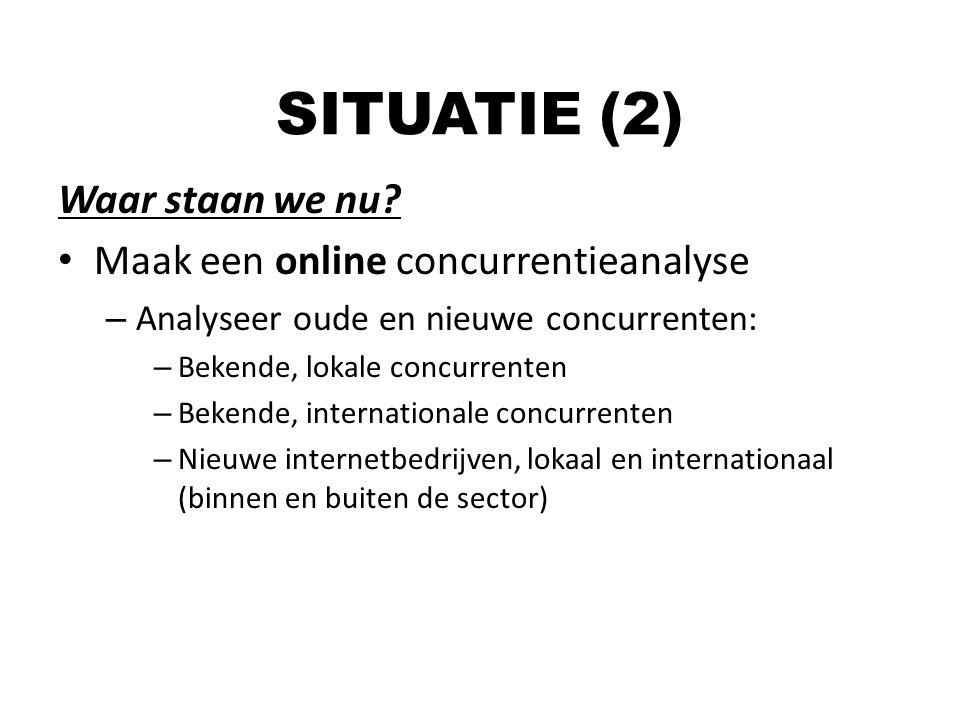 Waar staan we nu? Maak een online concurrentieanalyse – Analyseer oude en nieuwe concurrenten: – Bekende, lokale concurrenten – Bekende, international