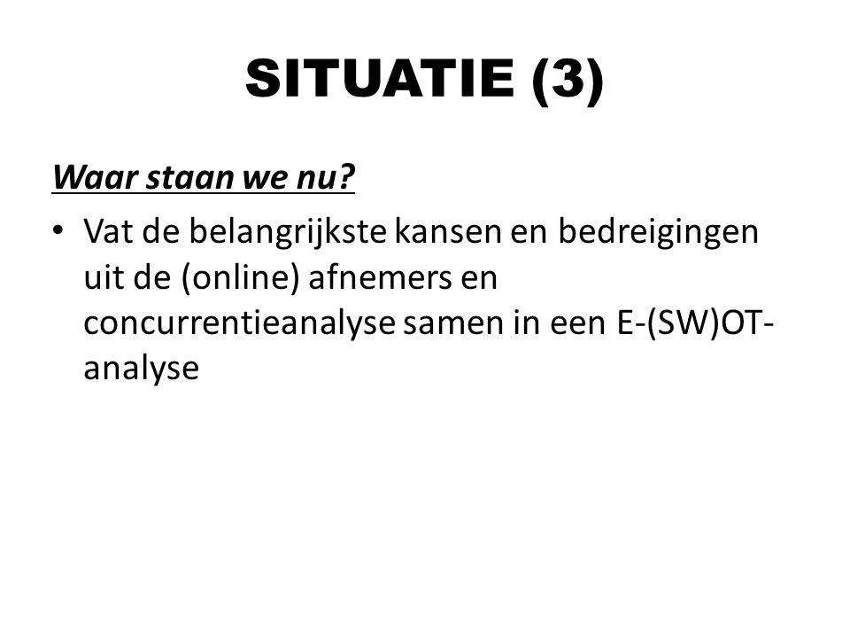 SITUATIE (3) Waar staan we nu? Vat de belangrijkste kansen en bedreigingen uit de (online) afnemers en concurrentieanalyse samen in een E-(SW)OT- anal