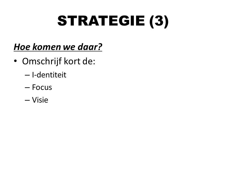 Hoe komen we daar? Omschrijf kort de: – I-dentiteit – Focus – Visie STRATEGIE (3)