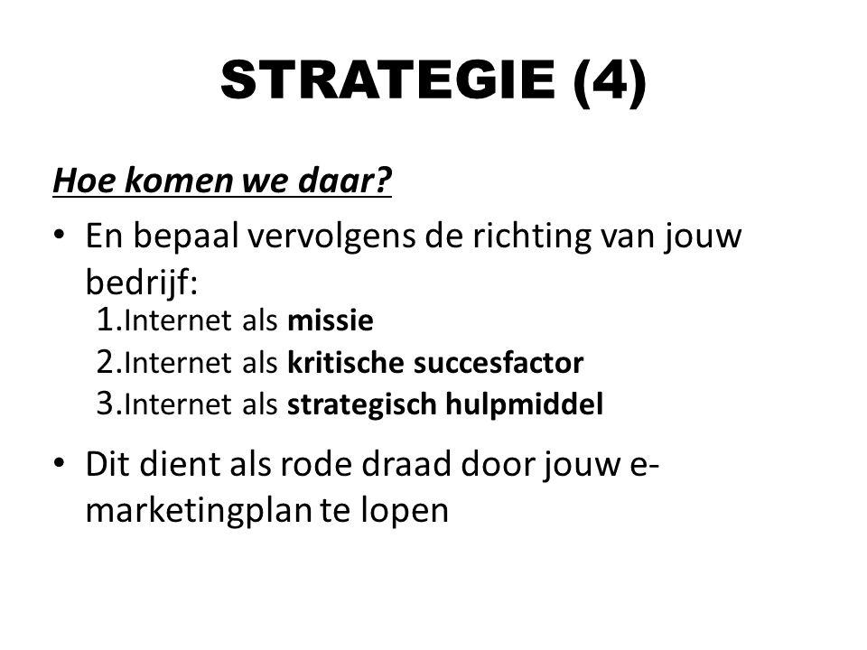 Hoe komen we daar? En bepaal vervolgens de richting van jouw bedrijf: 1. Internet als missie 2. Internet als kritische succesfactor 3. Internet als st
