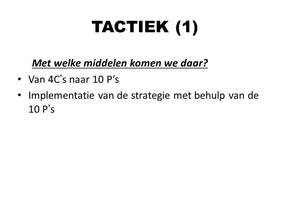 Met welke middelen komen we daar? Van 4C's naar 10 P's Implementatie van de strategie met behulp van de 10 P's TACTIEK (1)
