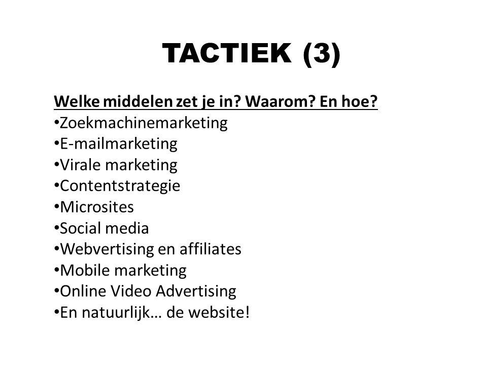 Welke middelen zet je in? Waarom? En hoe? Zoekmachinemarketing E-mailmarketing Virale marketing Contentstrategie Microsites Social media Webvertising