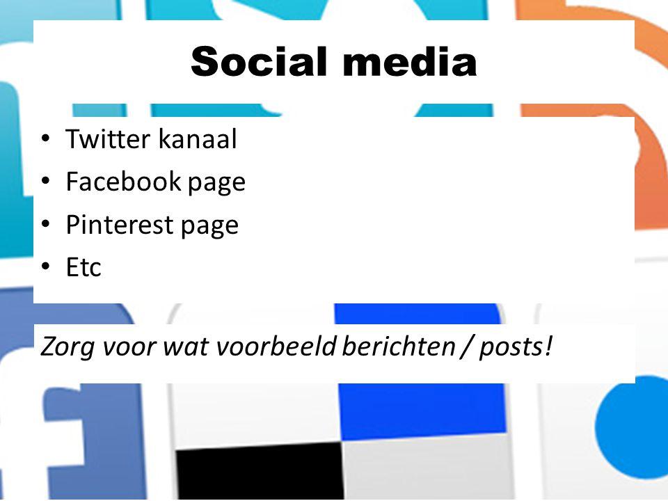 Social media Twitter kanaal Facebook page Pinterest page Etc Zorg voor wat voorbeeld berichten / posts!