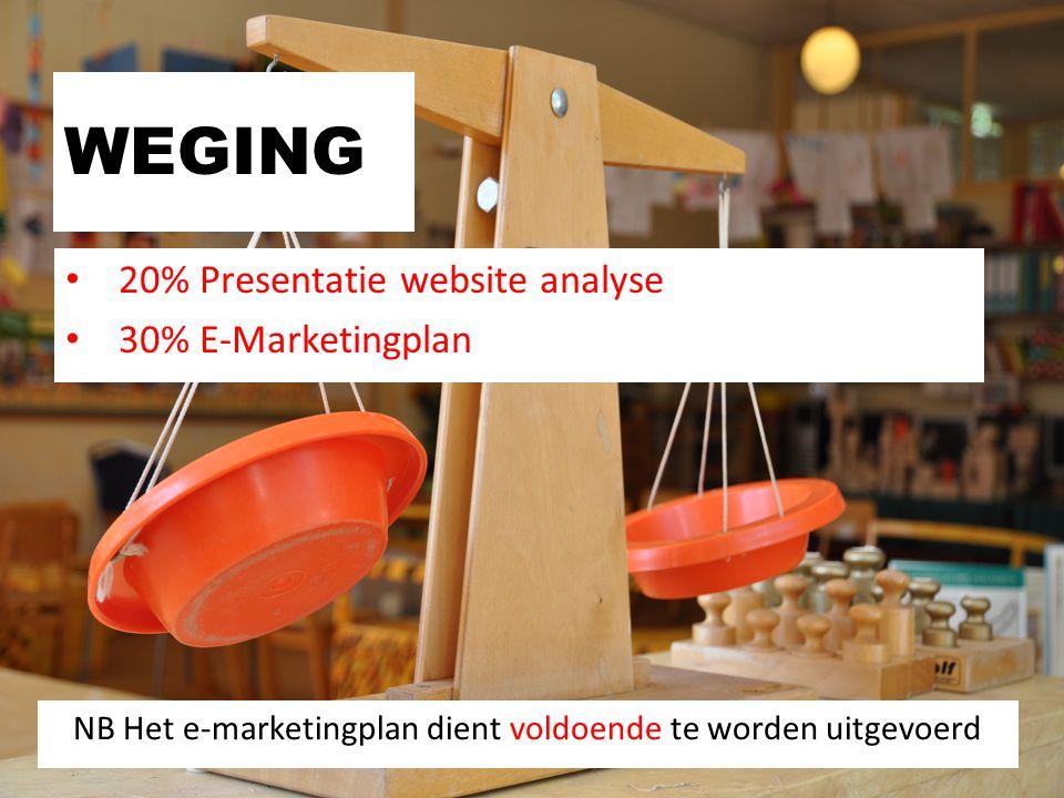 WEGING 20% Presentatie website analyse 30% E-Marketingplan NB Het e-marketingplan dient voldoende te worden uitgevoerd