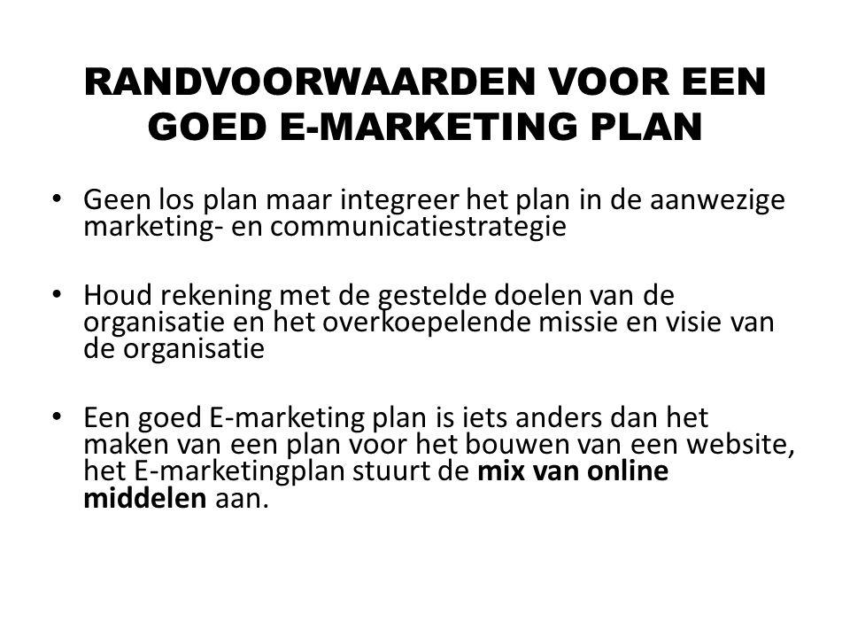 Geen los plan maar integreer het plan in de aanwezige marketing- en communicatiestrategie Houd rekening met de gestelde doelen van de organisatie en h
