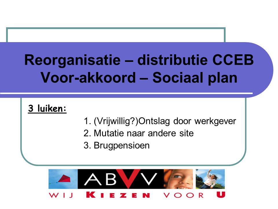 Reorganisatie – distributie CCEB Voor-akkoord – Sociaal plan 3 luiken: 1. (Vrijwillig?)Ontslag door werkgever 2. Mutatie naar andere site 3. Brugpensi