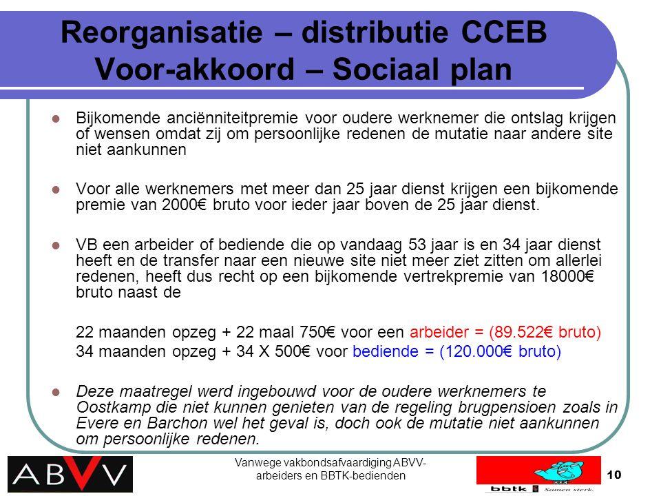 Vanwege vakbondsafvaardiging ABVV- arbeiders en BBTK-bedienden10 Reorganisatie – distributie CCEB Voor-akkoord – Sociaal plan Bijkomende anciënniteitp