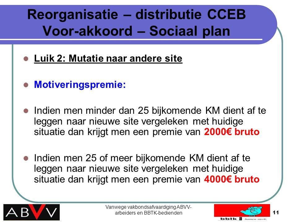 Vanwege vakbondsafvaardiging ABVV- arbeiders en BBTK-bedienden11 Reorganisatie – distributie CCEB Voor-akkoord – Sociaal plan Luik 2: Mutatie naar and