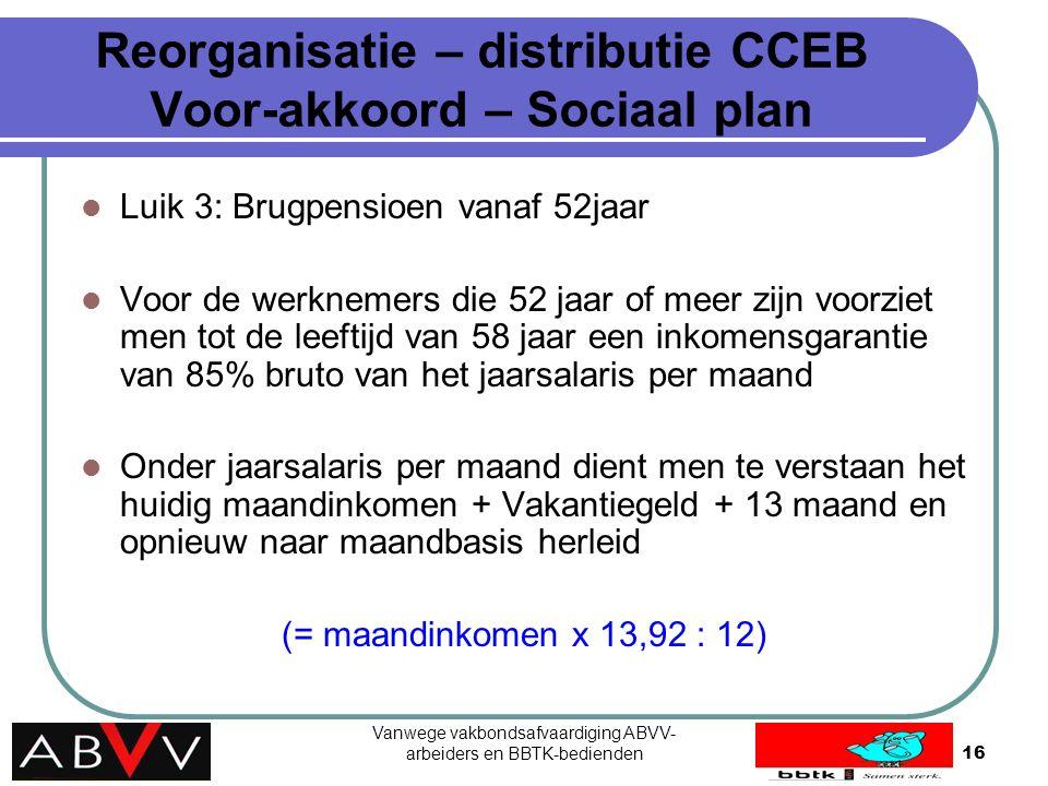 Vanwege vakbondsafvaardiging ABVV- arbeiders en BBTK-bedienden16 Reorganisatie – distributie CCEB Voor-akkoord – Sociaal plan Luik 3: Brugpensioen van