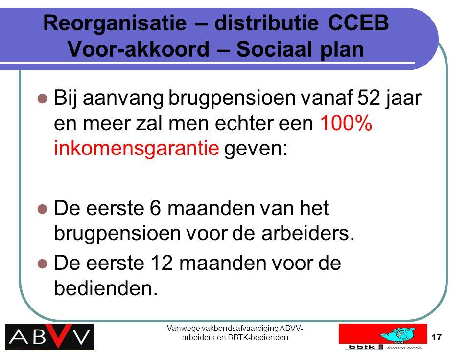 Vanwege vakbondsafvaardiging ABVV- arbeiders en BBTK-bedienden17 Reorganisatie – distributie CCEB Voor-akkoord – Sociaal plan Bij aanvang brugpensioen