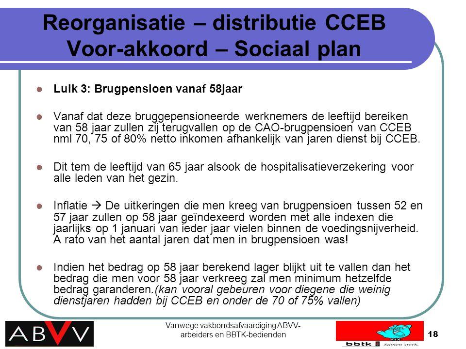 Vanwege vakbondsafvaardiging ABVV- arbeiders en BBTK-bedienden18 Reorganisatie – distributie CCEB Voor-akkoord – Sociaal plan Luik 3: Brugpensioen van