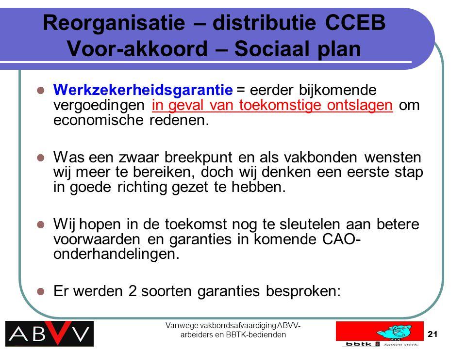 Vanwege vakbondsafvaardiging ABVV- arbeiders en BBTK-bedienden21 Reorganisatie – distributie CCEB Voor-akkoord – Sociaal plan Werkzekerheidsgarantie =