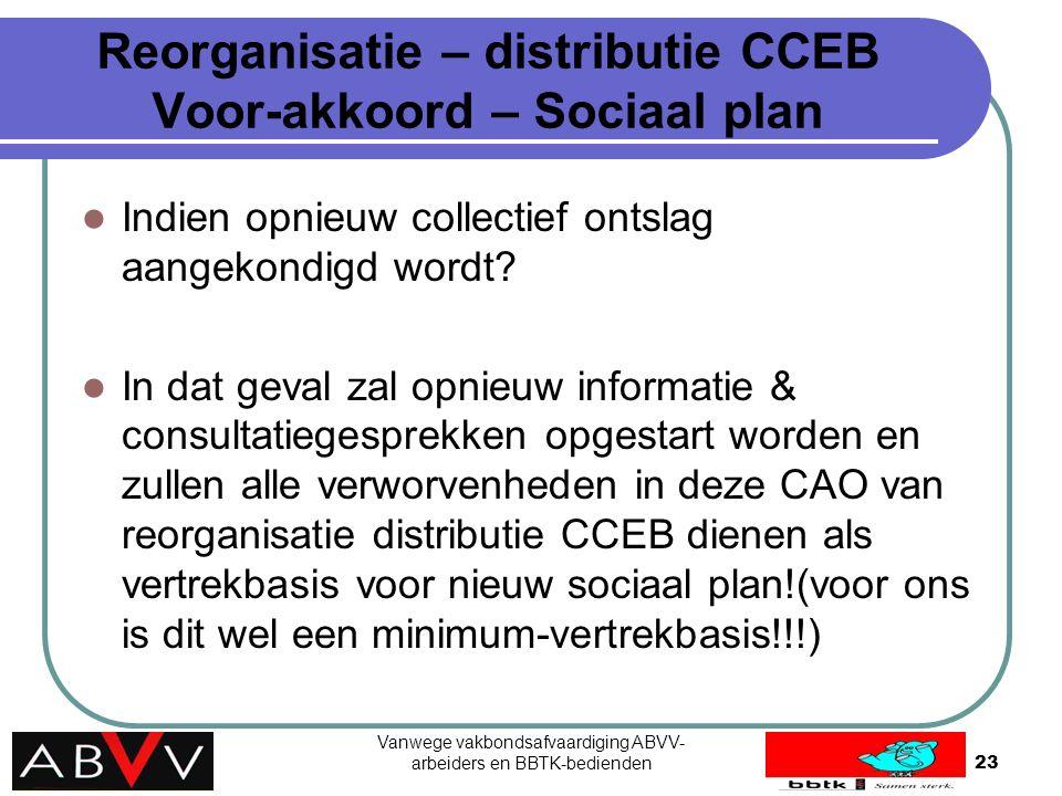 Vanwege vakbondsafvaardiging ABVV- arbeiders en BBTK-bedienden23 Reorganisatie – distributie CCEB Voor-akkoord – Sociaal plan Indien opnieuw collectie
