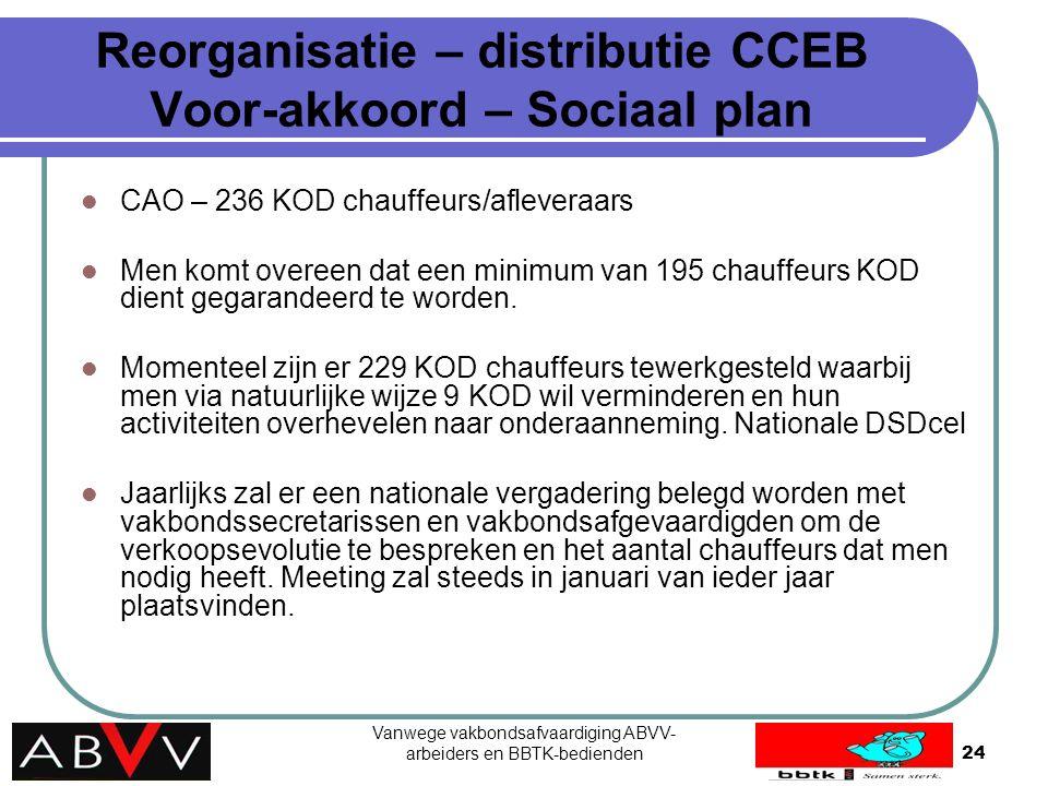 Vanwege vakbondsafvaardiging ABVV- arbeiders en BBTK-bedienden24 Reorganisatie – distributie CCEB Voor-akkoord – Sociaal plan CAO – 236 KOD chauffeurs