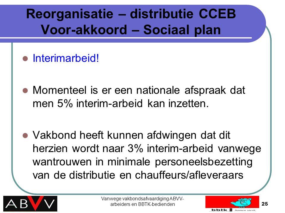 Vanwege vakbondsafvaardiging ABVV- arbeiders en BBTK-bedienden25 Reorganisatie – distributie CCEB Voor-akkoord – Sociaal plan Interimarbeid! Momenteel