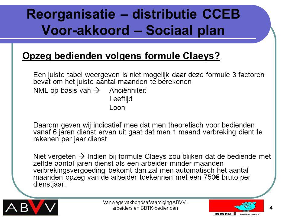 Vanwege vakbondsafvaardiging ABVV- arbeiders en BBTK-bedienden4 Reorganisatie – distributie CCEB Voor-akkoord – Sociaal plan Opzeg bedienden volgens f
