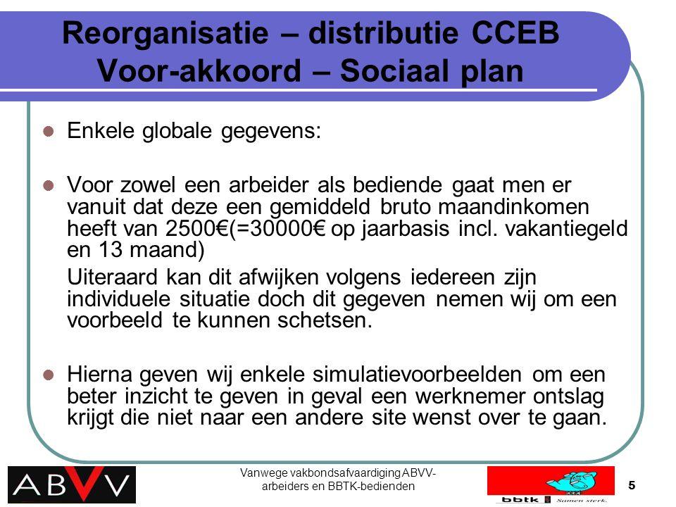 Vanwege vakbondsafvaardiging ABVV- arbeiders en BBTK-bedienden5 Reorganisatie – distributie CCEB Voor-akkoord – Sociaal plan Enkele globale gegevens: