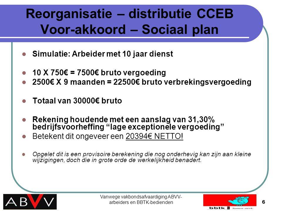 Vanwege vakbondsafvaardiging ABVV- arbeiders en BBTK-bedienden6 Reorganisatie – distributie CCEB Voor-akkoord – Sociaal plan Simulatie: Arbeider met 1