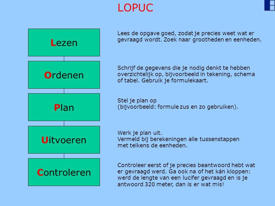 Lezen Ordenen Plan Uitvoeren Controleren Lees de opgave goed, zodat je precies weet wat er gevraagd wordt. Zoek naar grootheden en eenheden. Schrijf d