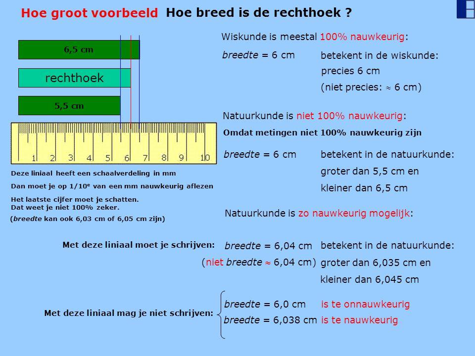 Hoe groot voorbeeld 6,5 cm rechthoek 5,5 cm Wiskunde is meestal 100% nauwkeurig: breedte = 6 cm betekent in de wiskunde: Natuurkunde is niet 100% nauw