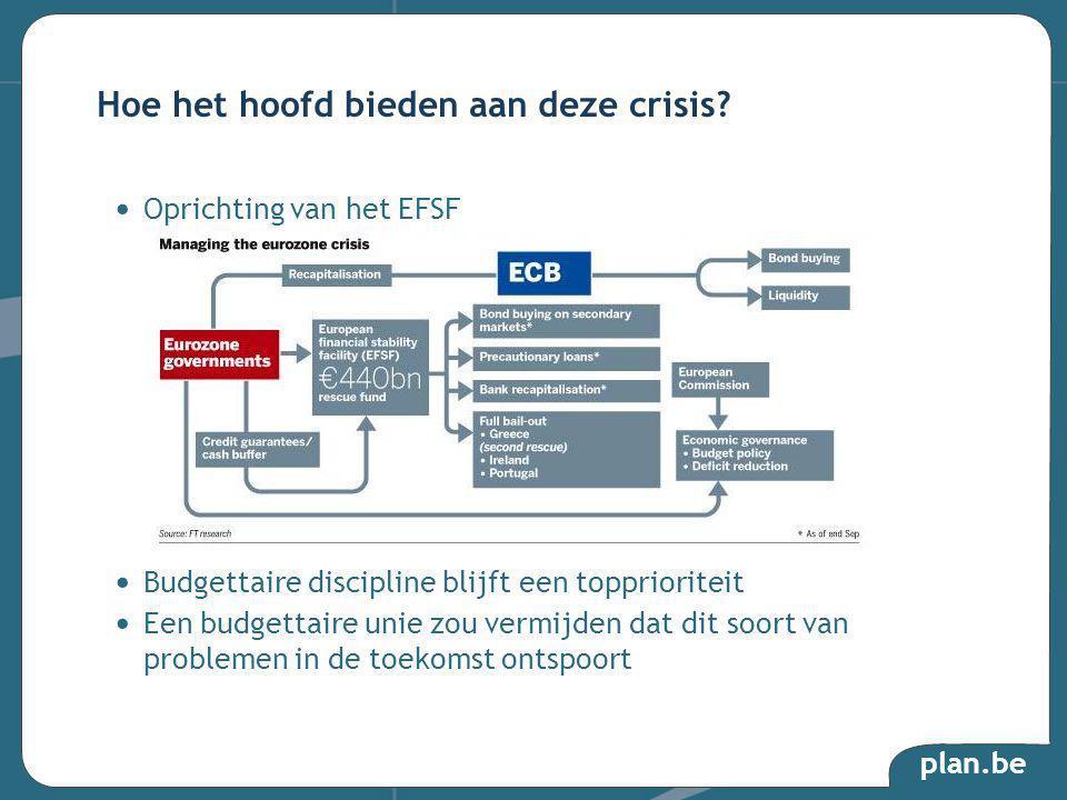 plan.be Oprichting van het EFSF Budgettaire discipline blijft een topprioriteit Een budgettaire unie zou vermijden dat dit soort van problemen in de toekomst ontspoort Hoe het hoofd bieden aan deze crisis