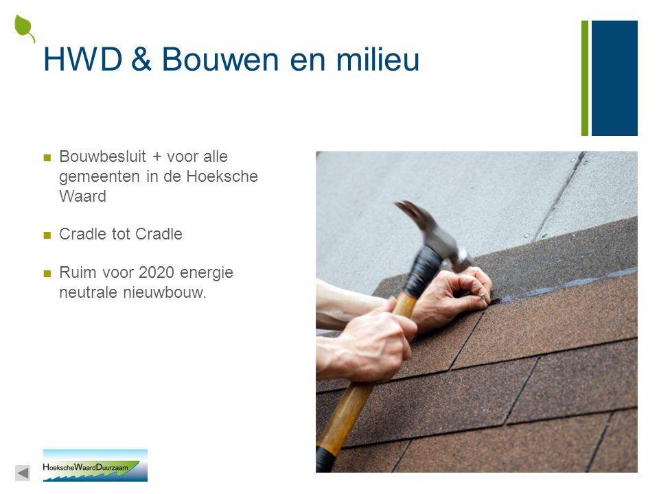 HWD & Bouwen en milieu Bouwbesluit + voor alle gemeenten in de Hoeksche Waard Cradle tot Cradle Ruim voor 2020 energie neutrale nieuwbouw.