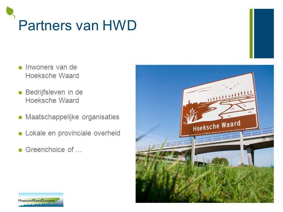 Partners van HWD Inwoners van de Hoeksche Waard Bedrijfsleven in de Hoeksche Waard Maatschappelijke organisaties Lokale en provinciale overheid Greenc