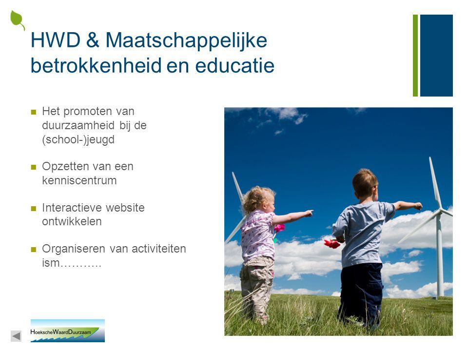 HWD & Maatschappelijke betrokkenheid en educatie Het promoten van duurzaamheid bij de (school-)jeugd Opzetten van een kenniscentrum Interactieve websi