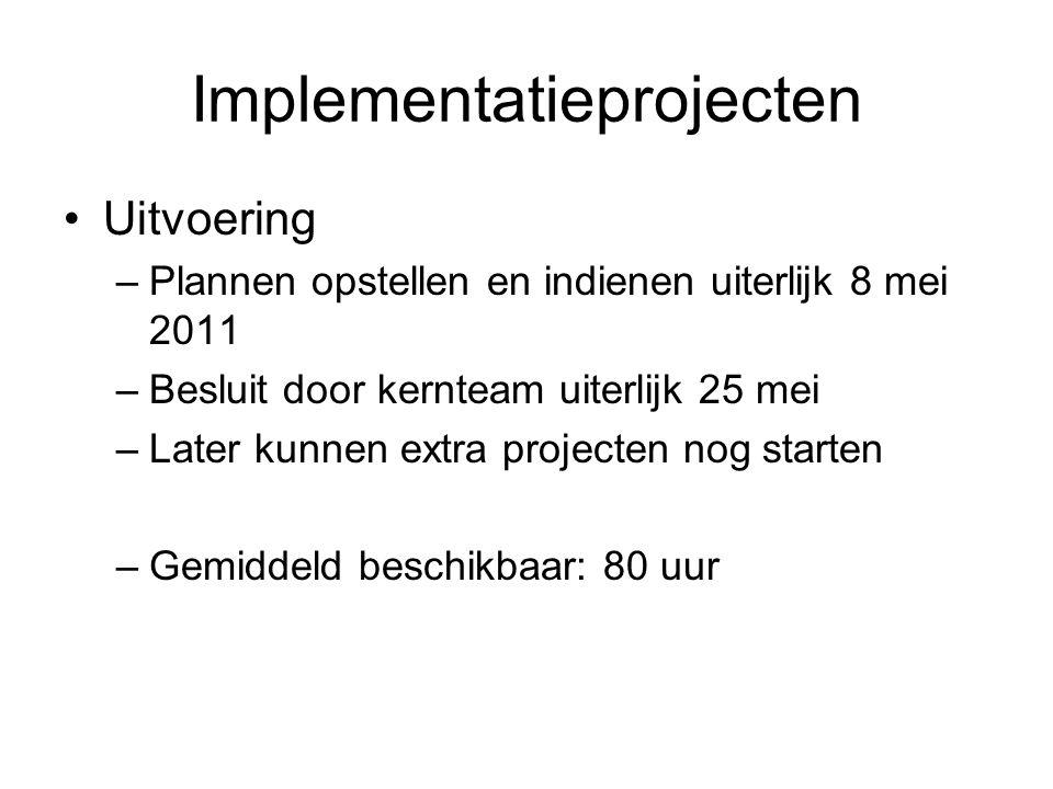 Implementatieprojecten Uitvoering –Plannen opstellen en indienen uiterlijk 8 mei 2011 –Besluit door kernteam uiterlijk 25 mei –Later kunnen extra projecten nog starten –Gemiddeld beschikbaar: 80 uur