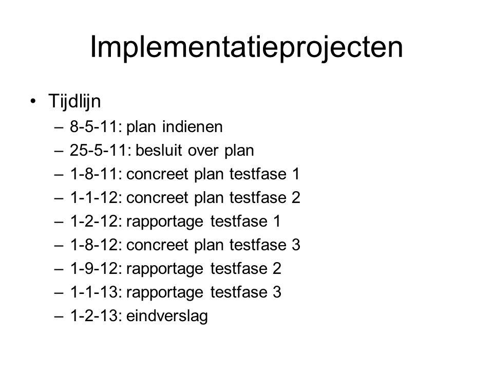 Implementatieprojecten Tijdlijn –8-5-11: plan indienen –25-5-11: besluit over plan –1-8-11: concreet plan testfase 1 –1-1-12: concreet plan testfase 2 –1-2-12: rapportage testfase 1 –1-8-12: concreet plan testfase 3 –1-9-12: rapportage testfase 2 –1-1-13: rapportage testfase 3 –1-2-13: eindverslag
