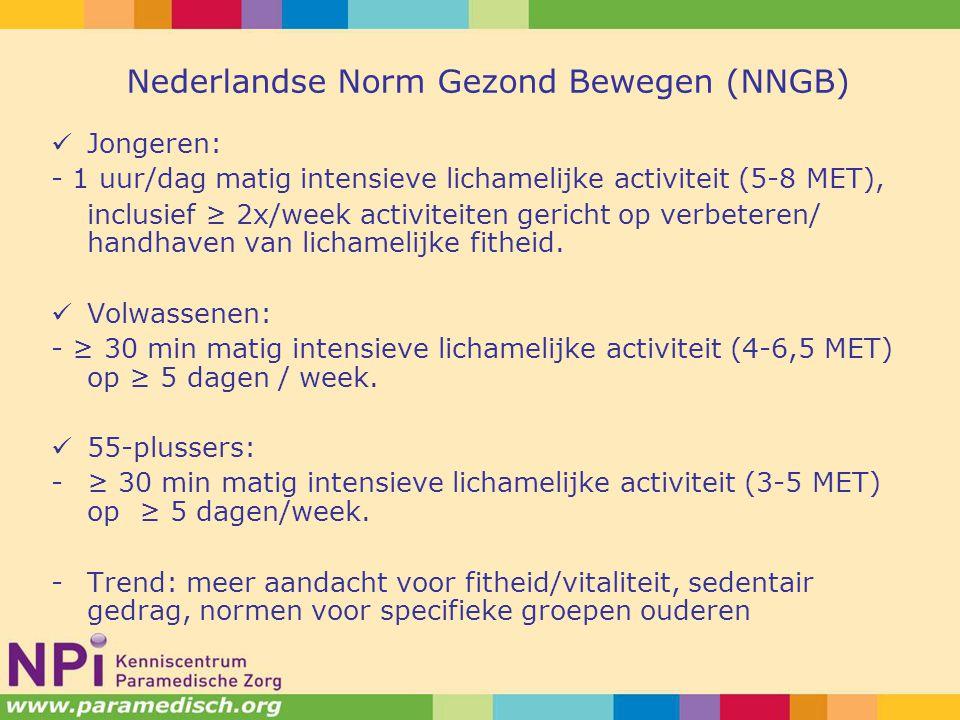 Nederlandse Norm Gezond Bewegen (NNGB) Jongeren: - 1 uur/dag matig intensieve lichamelijke activiteit (5-8 MET), inclusief ≥ 2x/week activiteiten gericht op verbeteren/ handhaven van lichamelijke fitheid.