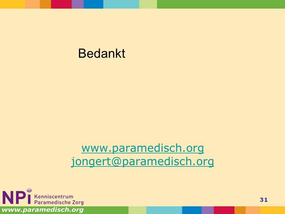 www.paramedisch.org jongert@paramedisch.org 31 Bedankt