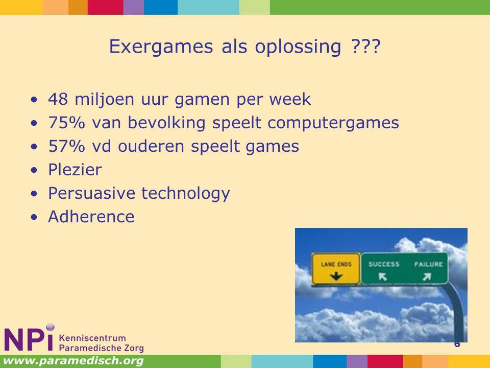 Exergames als oplossing ??? 48 miljoen uur gamen per week 75% van bevolking speelt computergames 57% vd ouderen speelt games Plezier Persuasive techno