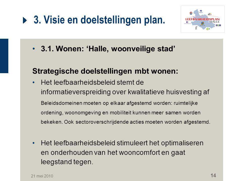 21 mei 2010 14 3. Visie en doelstellingen plan. 3.1. Wonen: 'Halle, woonveilige stad' Strategische doelstellingen mbt wonen: Het leefbaarheidsbeleid s